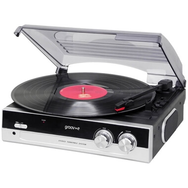 Groov-e Retro Vinyl Record Player With Built-in Speakers - Black