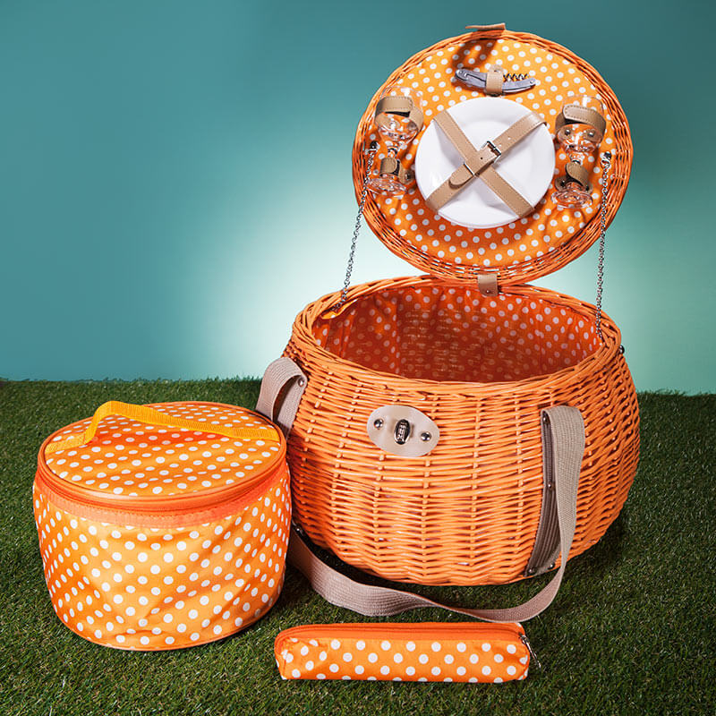 Pumpkin Two Person Willow Picnic Basket