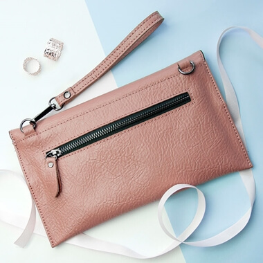 Personalised Leather Clutch Bag - Nude