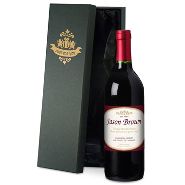 c72f4c67d7 Personalised Bottle of Red Wine in Silk Lined Gift Box