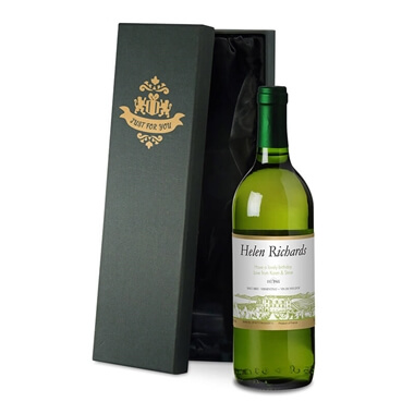 Personalised Bottle of White Wine in Silk Lined Gift Box