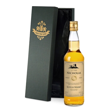 Personalised Malt Whisky and Silk Lined Gift Box