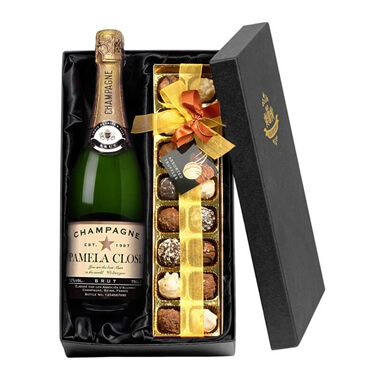 Personalised Champagne with Chocolates