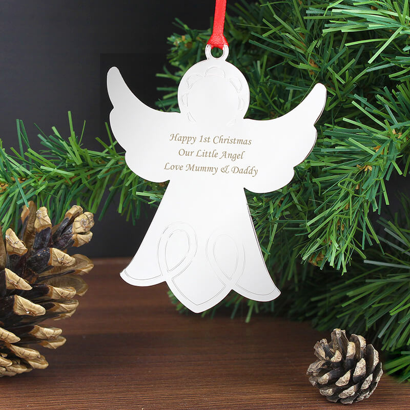 Personalised christmas angel tree decoration buy from for Angel of the north christmas decoration