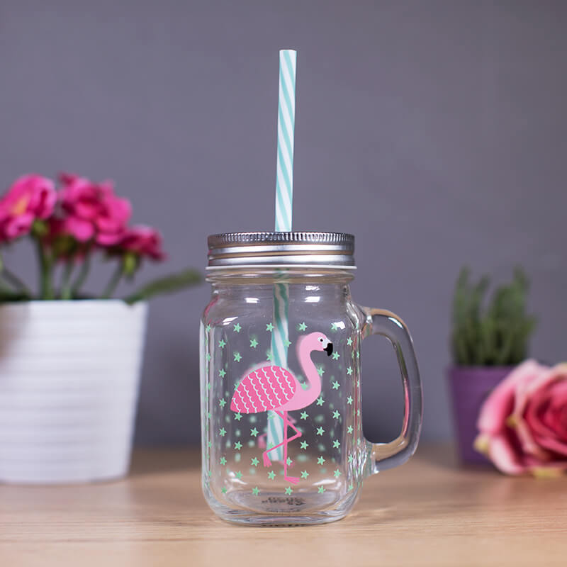 Flamingo Mason Jar