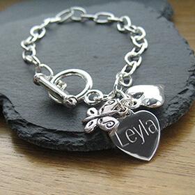 Personalised Butterfly Link Bracelet