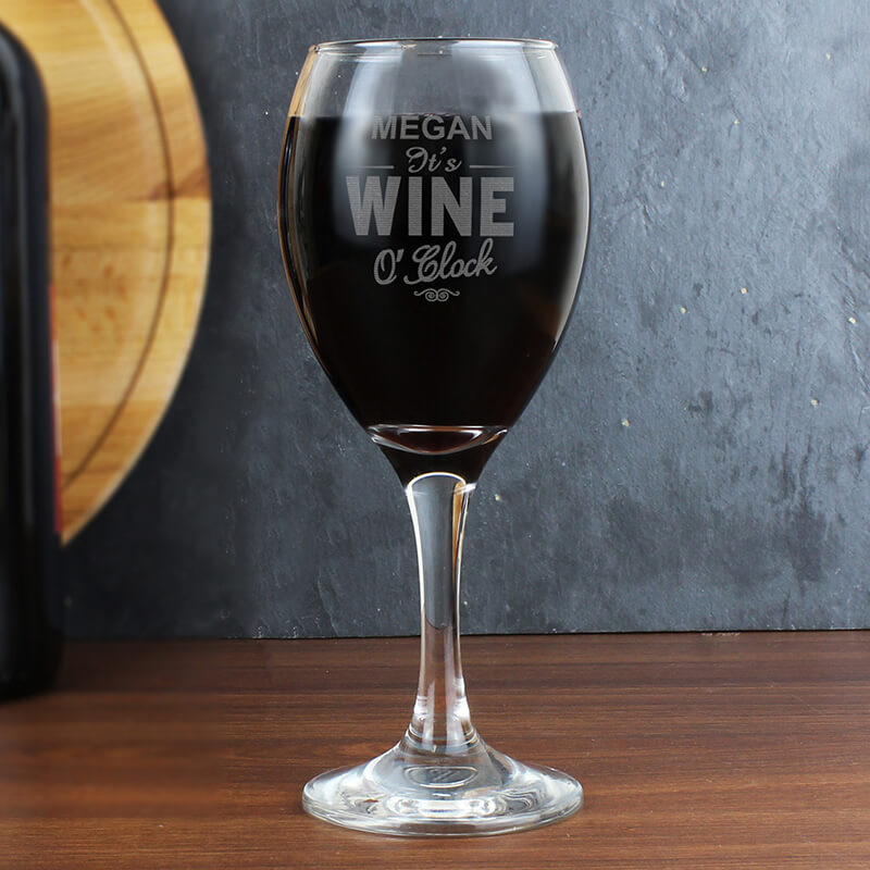 Click to view product details and reviews for Personalised Wine Oclock Engraved Wine Glass.