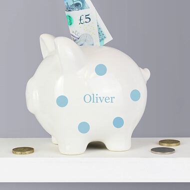Personalised Blue Polka Dot Piggy Bank