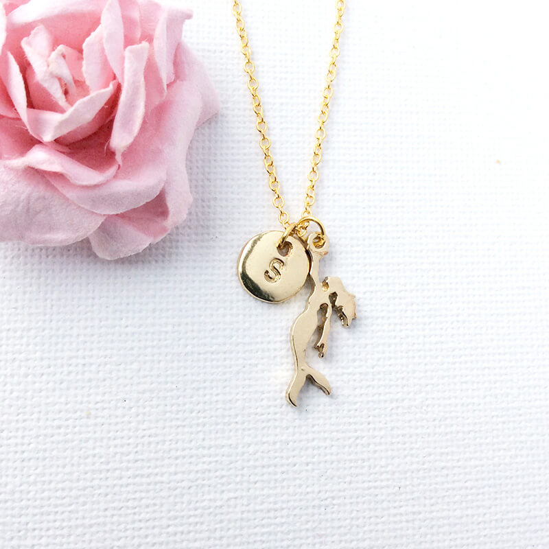 Personalised Gold Mermaid Necklace