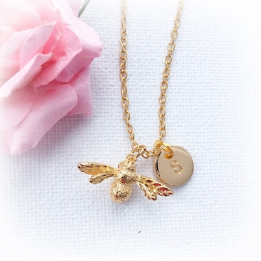 Personalised Gold Bumble Bee Necklace