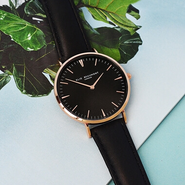 Personalised Vintage Black Leather Watch
