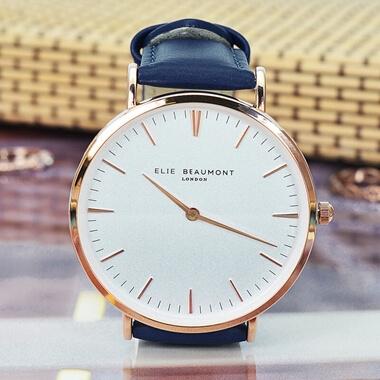 Personalised Vintage Navy Leather Watch