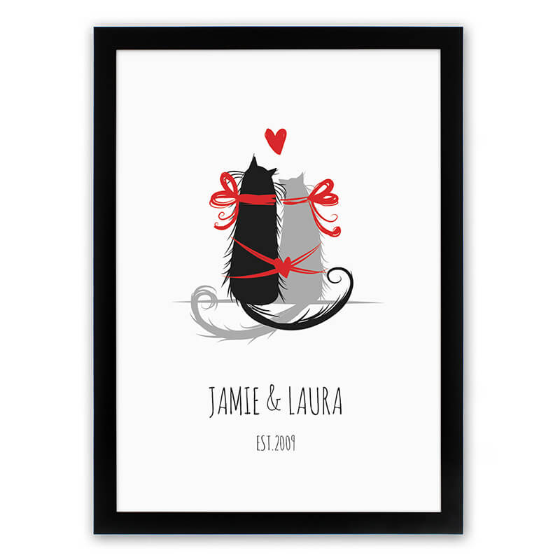 Personalised Purr-fect Love Framed Poster