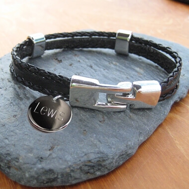 Personalised Men's Leather Clasp Bracelet