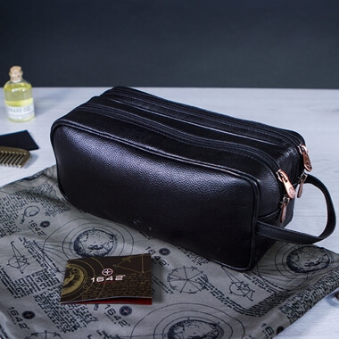 Leather Travel Wash Bag