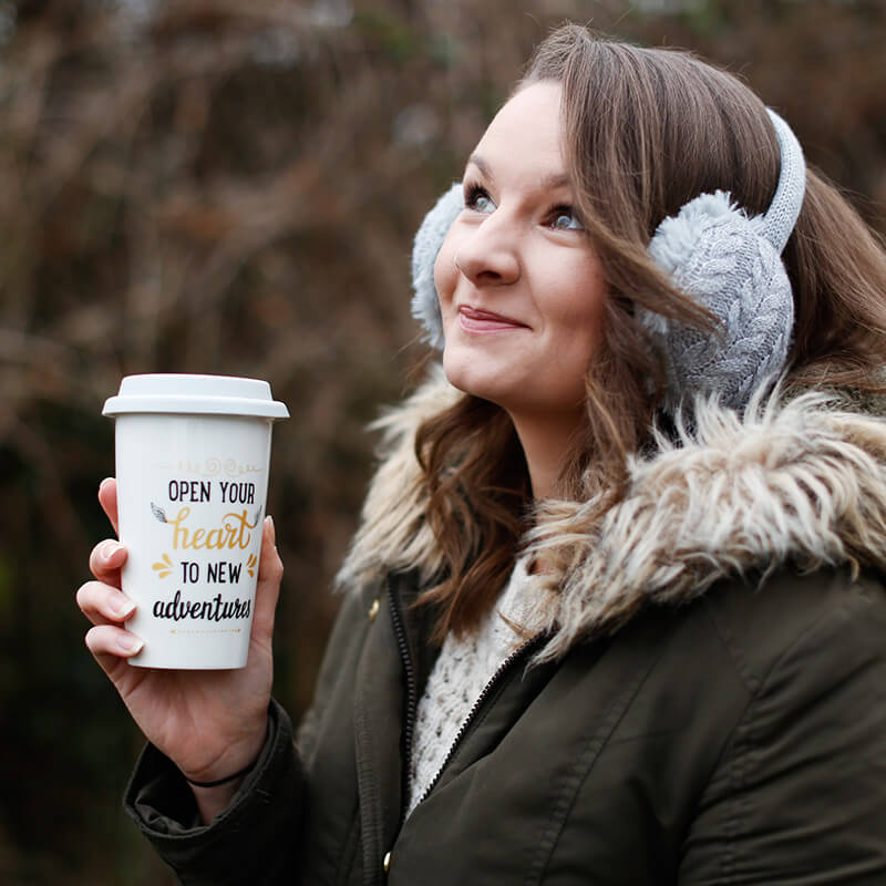 Open Your Heart To New Adventures Travel Mug And Cosy Earmuffs