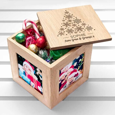 Personalised Photo Cube with Festive Treats