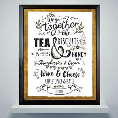 Personalised We Go Together Like... Framed Poster