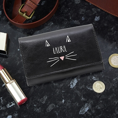 Personalised  Black Cat Purse