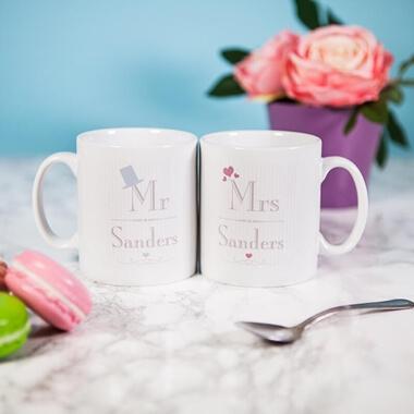 Personalised Wedding Mr & Mrs Mug Set