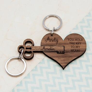 Personalised Key To My Heart Keyring Set