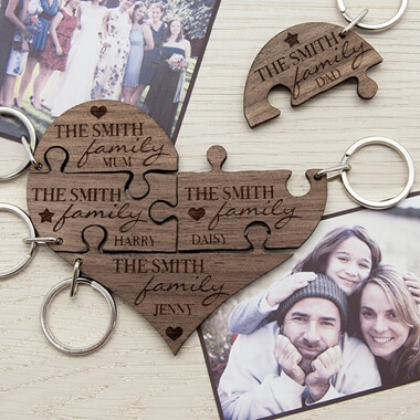Personalised Family Heart Wooden Jigsaw Keyring