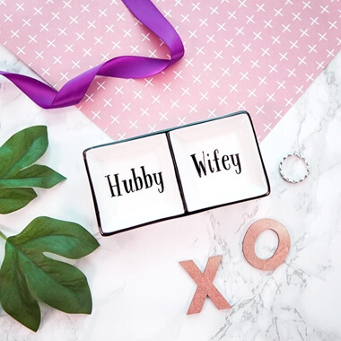 Hubby & Wifey Trinket Dish