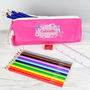 Personalised Butterfly Pencil Case Set