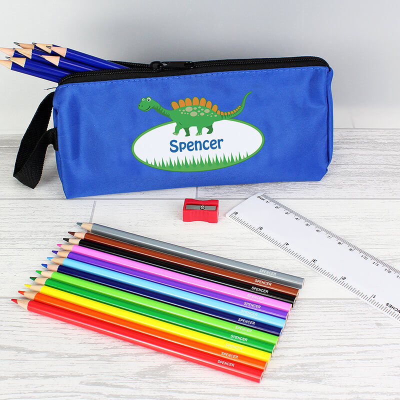Personalised Dinosaur Pencil Case Set