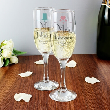 Personalised Mr & Mrs Wedding Flutes