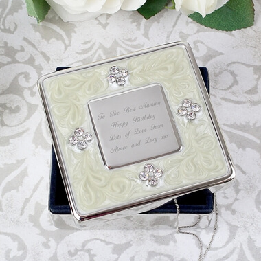 Personalised Square Diamante Trinket Box