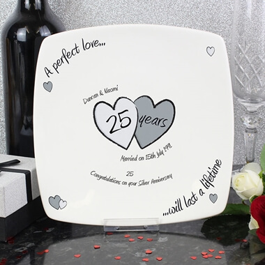 Personalised Silver Anniversary Plate