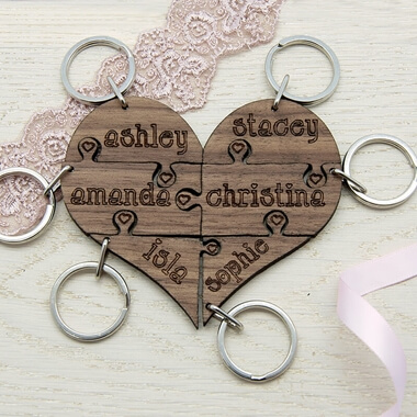 Personalised Bridesmaid Heart Jigsaw Wooden Keyring