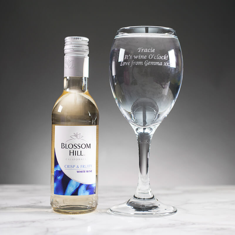 Personalised White Wine Glass with Mini Bottle of White Wine
