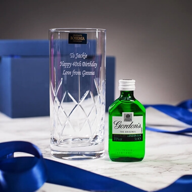 Personalised Crystal Glass and Gin Gift Set
