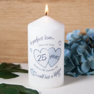 Personalised Silver Anniversary Candle & 25th Silver Wedding Anniversary Gifts - Buy From Prezzybox.com