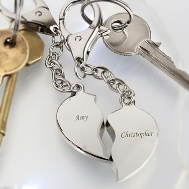 Personalised Heart Keyrings & Love Gifts and Romantic Gifts Ideas for Him and Her From Prezzybox.com