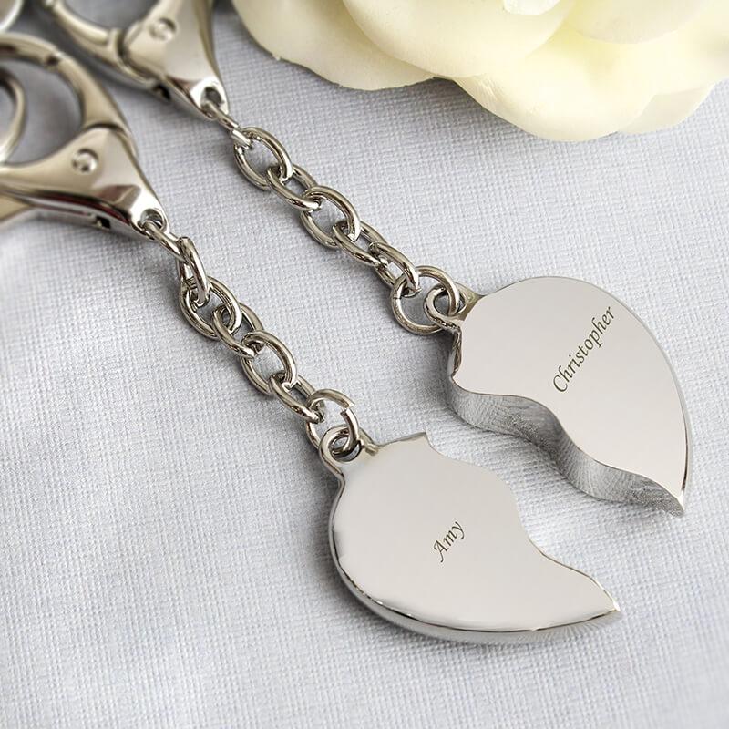 Personalised Heart Keyrings