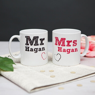 Personalised Mr and Mrs Mug Set