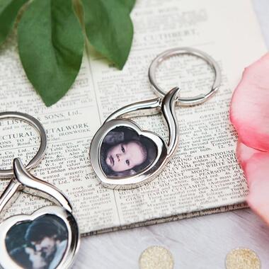 Personalised Heart Photo Key Ring