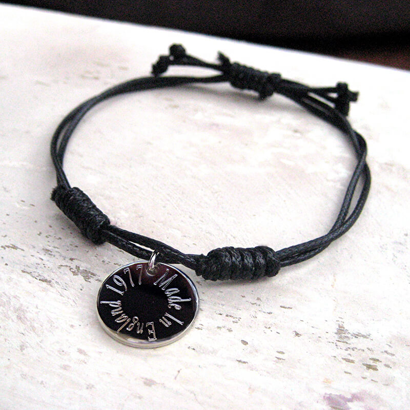 Personalised Edge Cord Bracelet
