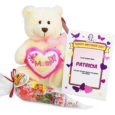 Personalised Mum Bear & Sweet Bouquet