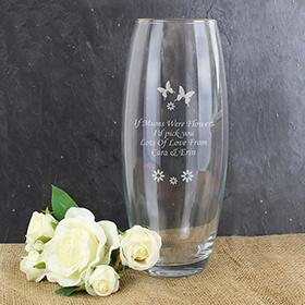 Personalised Butterflies and Flowers Vase