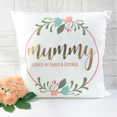 Personalised Floral Wreath Cushion