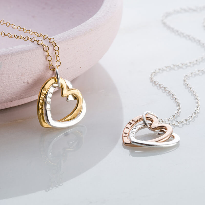 Personalised Gold Interlinking Hearts Necklace