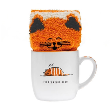 Relaxing Cat Mug And Sock Set