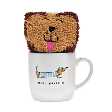 Stripey Sausage Dog Mug And Sock Set