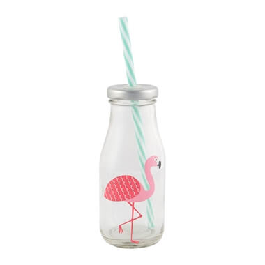 Flamingo Milk Bottle & Straw