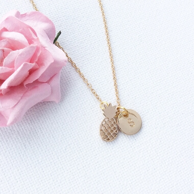 Personalised Gold Pineapple Necklace