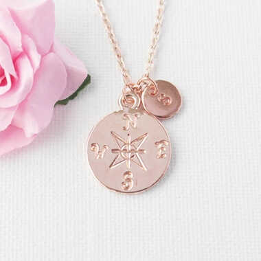 Personalised Rose Gold Compass Necklace
